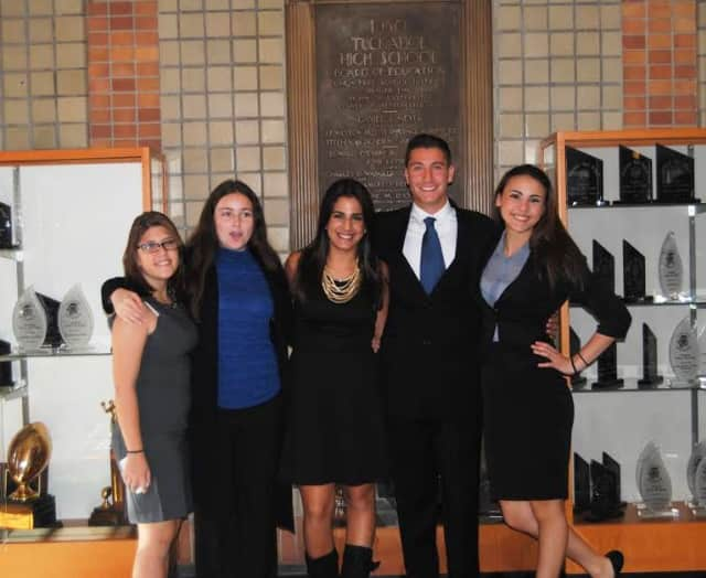 Tuckahoe High School Debate Team members Stephanie Brown, Maria Kyriakakos, Nicole Alimena, Giancarlo Conte and Monica Calce.