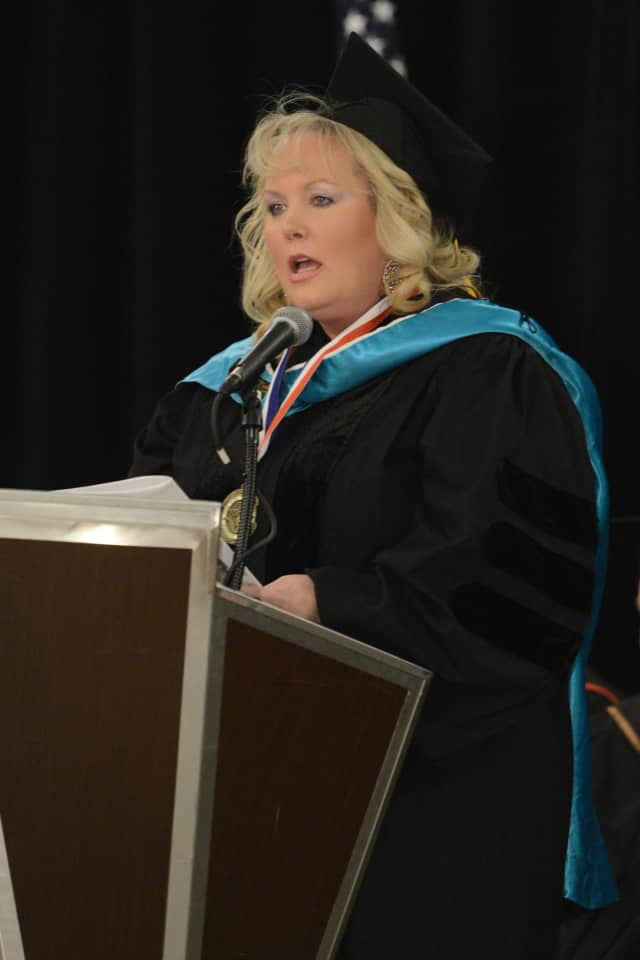 Armonk resident Dr. Kathy Reilly Fallon receives an honorary doctorate.