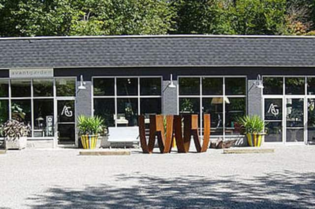Avantgarden in Pound Ridge, a former gas station, has been transformed by owners Kristen and Charlie Allen into a high-end furniture store with lamps, accessories and work by artisans and craftsman that spans centuries and communities.