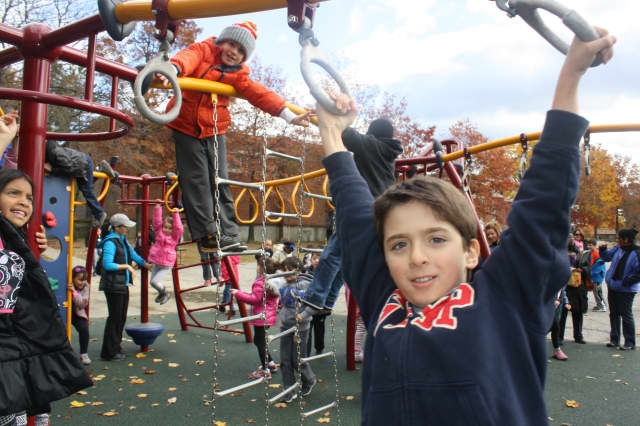 The state-of-the-art playground at George M. Davis Elementary School in New Rochelle is open.