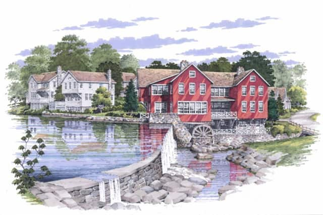 A color rendering of the home development at Jelliff Mill, which will have six homes, three condos and a loft unit.
