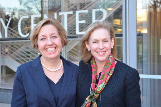 Westchester Community College Vice President of Academic Affairs Joanne Russell, left, meets Sen. Kirsten Gillibrand.