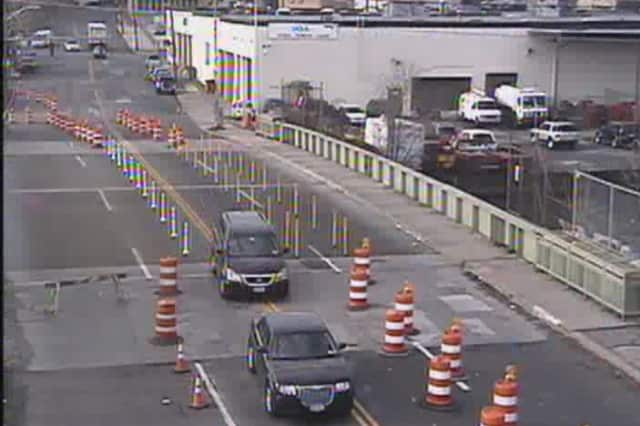The Fulton Avenue Drawbridge is open, but with only one lane in each direction.