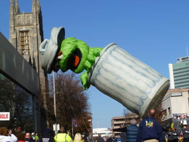 Oscar the Grouch had some issues dealing with the wind in the Stamford balloon parade in a past year.