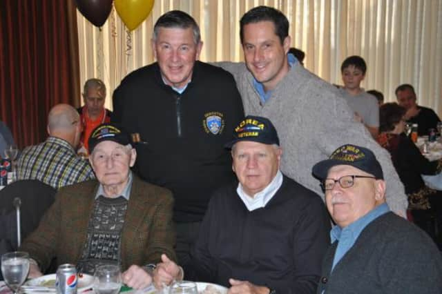 Westchester County veterans enjoy a free Thanksgiving dinner with State Sen. Greg Ball.
