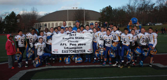 The Eastchester Blue Devils PeeWee team won the Empire State Classic AFL PeeWee championship.