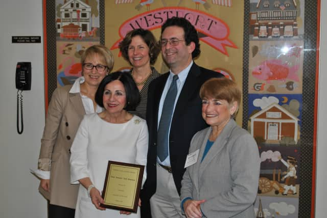 Left to right: Bianka Kortland-Cox, former president CAG, Katie Augustyn, past president CAG, Mike Rizzo, president CAG, Westport Director of Special Education, Beverly Katz, executive director CAG, State Sen. Toni Boucher in forefront.