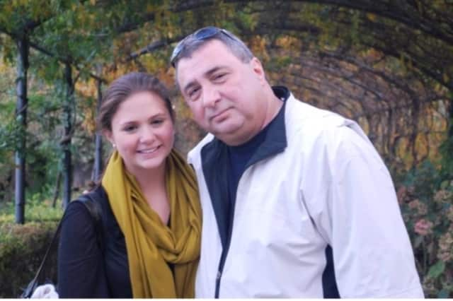 Norwalk's Bridget Frosina, left, with her father, Gaetan, has been selected as the Honored Hero for the Connecticut Leukemia and Lymphoma Society's Team In Training program.