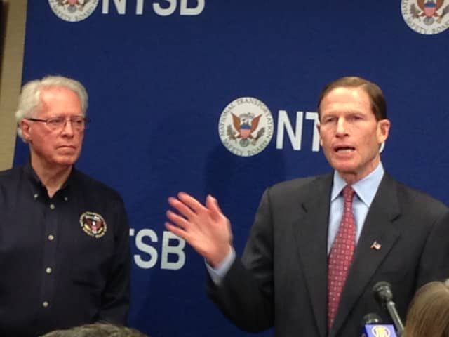Earl Weener of the NTSB joined by Sen. Richard Blumenthal of Connecticut at a press conference in Yonkers on Monday afternoon.