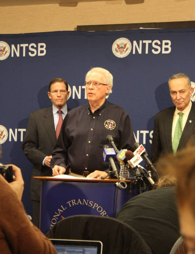 Earl Weener is joined by Sen. Richard Blumenthal of Connecticut and Sen. Charles Schumer of New York.