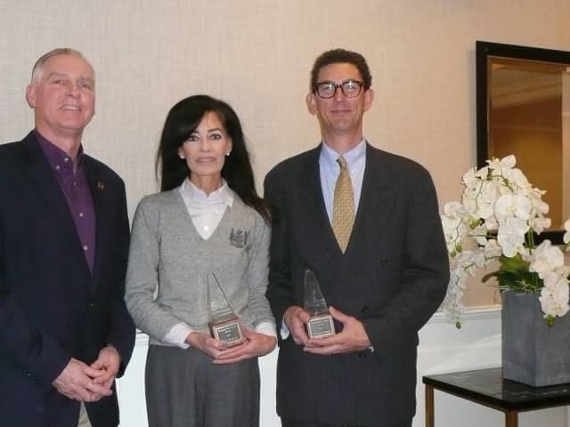 Pictured at Rolling Hills are (from left) Y Executive Director Bob McDowell; Erin Woolard; and Co-President of the Wilton Education Foundation Matt Greene.