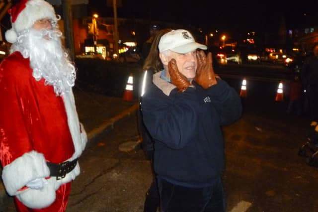 Ardsley Mayor Peter Porcino and Santa Claus at last year's tree lighting in Ardsley Square.