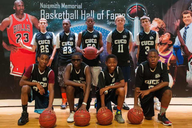 The Tuckahoe CUCD Boys Basketball team at the Hall of Fame in Springfield, Mass.