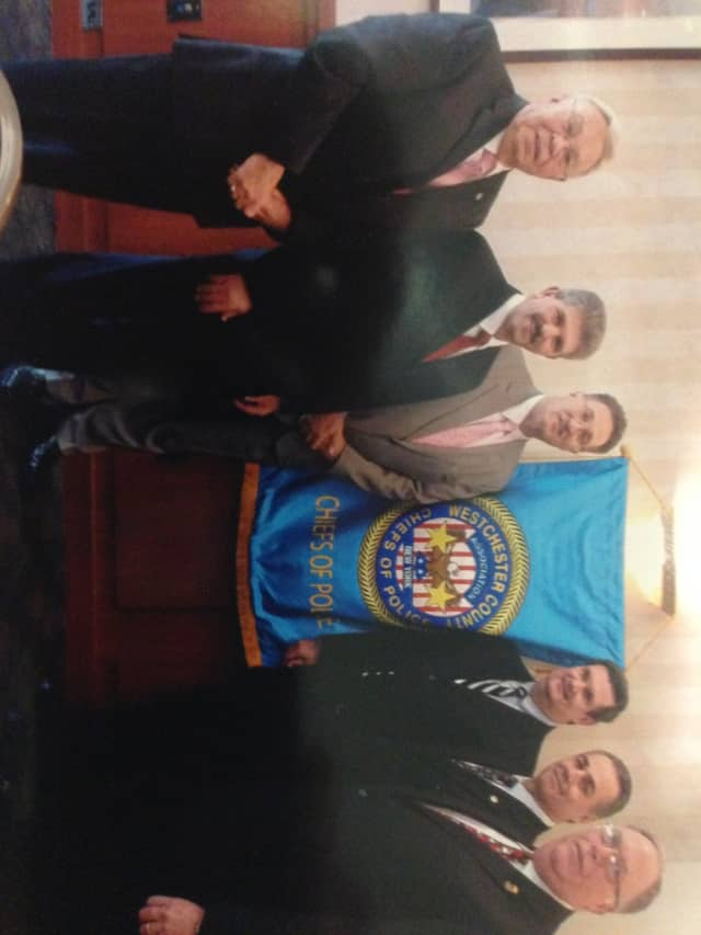 Left to Right: Chief Joseph DelBianco (retired), Chief Michael Cerone, Chief Gregory J. Austin, Chief Norman Campion, Chief John Brogan, Chief Robert D'Angelo (retired) were all elected officers of  the Westchester County Chiefs of Police Association