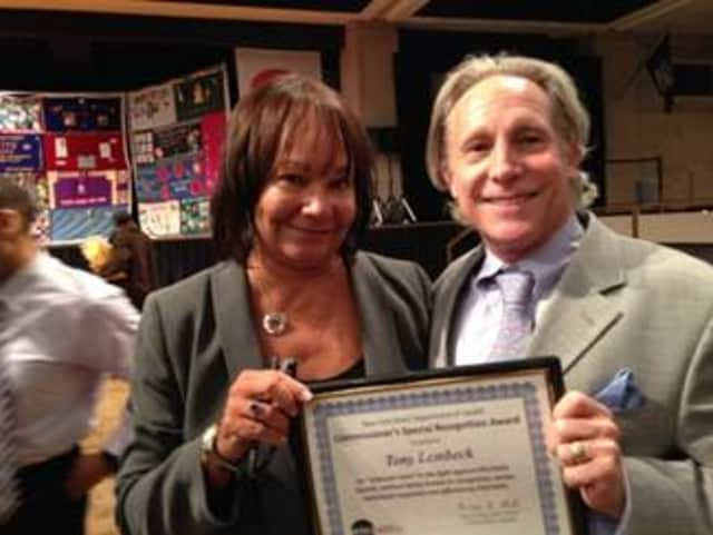 Yonkers' Tony Lembeck with Susan Wayne, chief executive officer of Family Services of Westchester