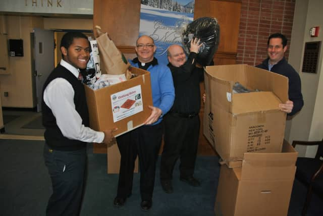 Sen. Greg Ball (R,C,I-Patterson) recently traveled to Our Lady of Lourdes High School in Poughkeepsie to pick up clothing for Montrose veterans.