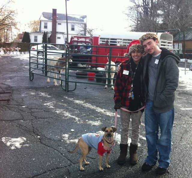 Julie Zwisdak, Larry Van Nostrand, and Maeby visit the Fisher Avenue Reindeer in Tuckahoe