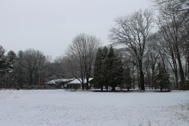 This is the view of Camp Mahackeno's Beck Lodge, looking across the ball field.
