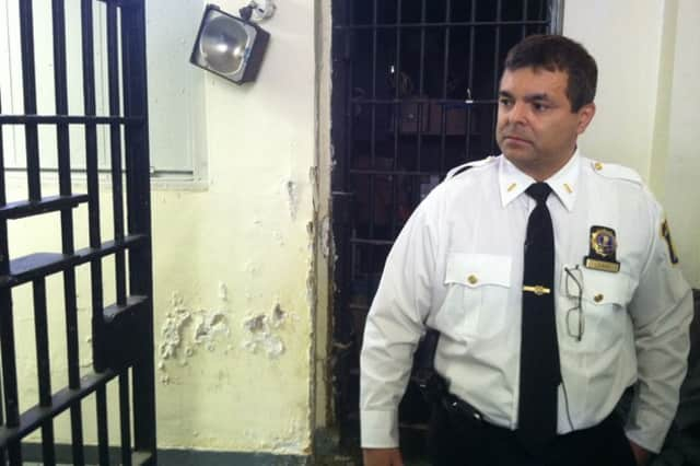 Yonkers Police Lt. Edward Leahy gives a tour of the City Jail on Alexander Street in March.