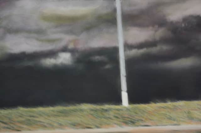 """Jeff Gardner's painting """"Reckoning"""" is on display at the Darien Library."""