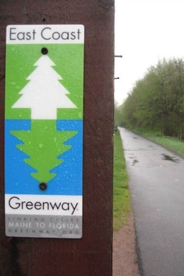 Signs similar to this would be placed along Halstead Avenue and Osborne Road in Harrison if the town joins the East Coast Greenway Alliance.