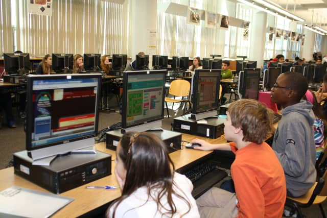 """Eastchester Middle School students participated in an """"Hour of Code"""" in December."""