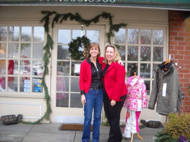 Former owner Kathleen Luparello and new owner Ann Hardy in front of The Preppy Turtle in Bedford Hills.