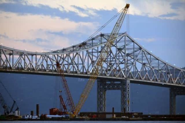Work on the new Tappan Zee Bridge was suspended due to icy conditions in the Hudson River
