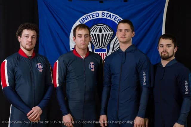 Ridgefield's Will Harris (second from left) and Andrew Stipicevic (right) won gold medals at the U.S. Parchute Association National Collegiate Parachuting Championships. They are shown with teammates Andrew Usher and Doug Hendrix.