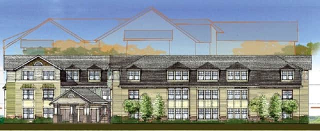 A rendering of what the proposed Benchmark Senior Living facility in Pleasantville would look like.