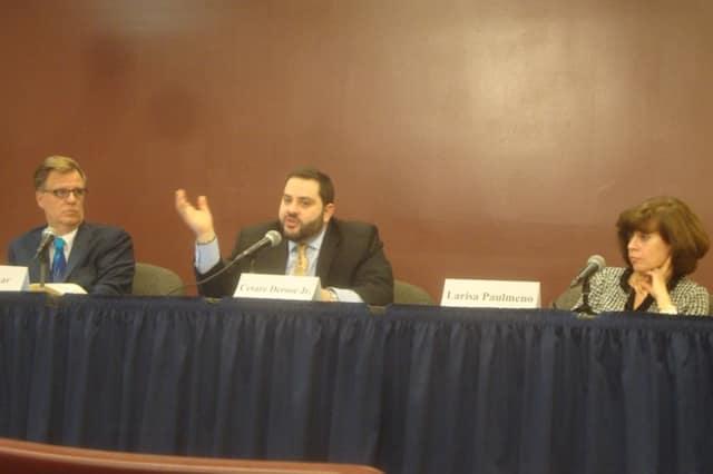 Board of Trustees candidates Mark Pohar, Cesare DeRose and Larisa Wayne-Paulmeno discuss Briarcliff Manor issues at a debate in December.