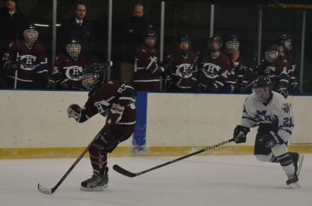Harvey freshman Alex Appel of Bedford, No. 57, skates against a defender.