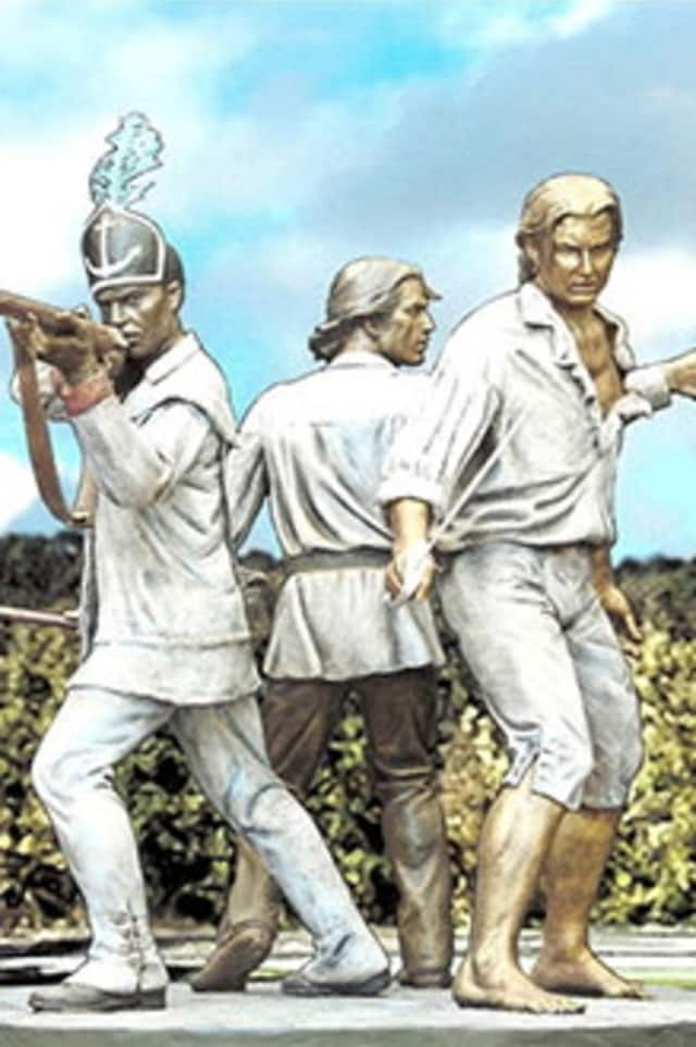 An artist's rendering of the proposed memorial for the Battle of Pines Bridge in Yorktown.