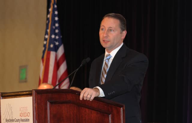 County executive Rob Astorino gives an address to the Westchester County Association.