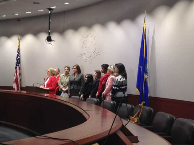 State Sen. Toni Boucher along with female members of the General Assembly at a press conference in Hartford.