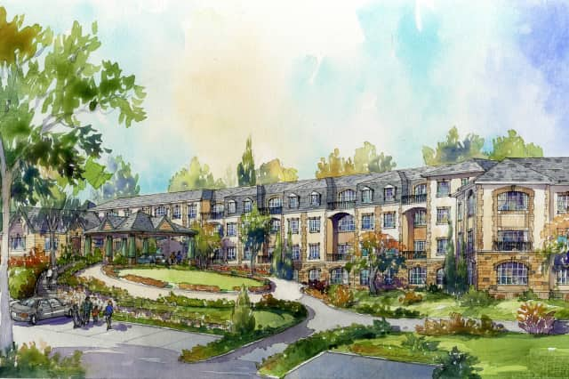 An artists rendering shows proposed luxury condos at Hampshire Country Club in Mamaroneck.