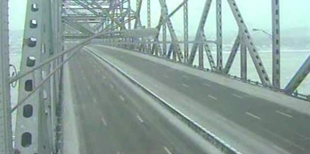 The Tappan Zee Bridge remains open but there is not a car in sight in this photo taken at 8:30 a.m. Wednesday.