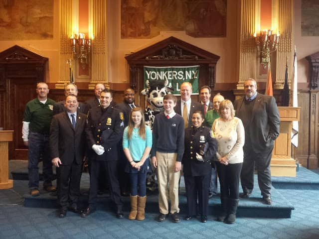 Yonkers City Officials and 2013 winners joined at Yonkers City Hall on Jan. 31 for the 31st annual PAL Poster Contest kick-off event.