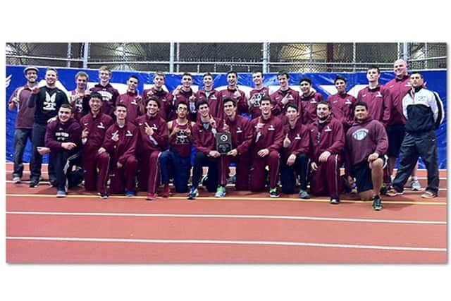 The Harrison boys track and field team earned a share of the Westchester County Championship Sunday at The Armory.