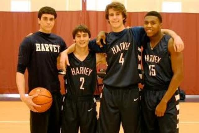 Seniors Andrew Schwartz, Christian Artuso, Jake Cohn and Deshawn Hilliard were honored by The Harvey School at Saturday's boys basketball game.