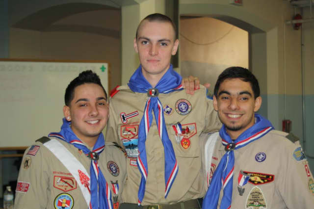 New Eagle Scouts, from left: Keith Hernandez, Michael Siciliano and Kevin Hernandez.