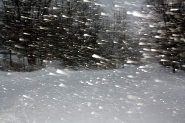 The snow was raging in Scarsdale on Thursday.