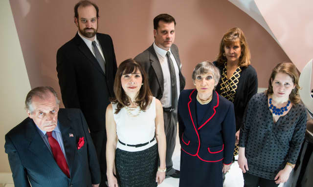 """The Town Players of New Canaan are gearing up to present the play """"The Governor's Son."""" Pictured: (Back) Kyle Runestad, Leighanne Champion, Frank Speranzo, (Front) Larry Greeley, Kimberley Lowden, Davina Porter, Kristin Gagliardi."""