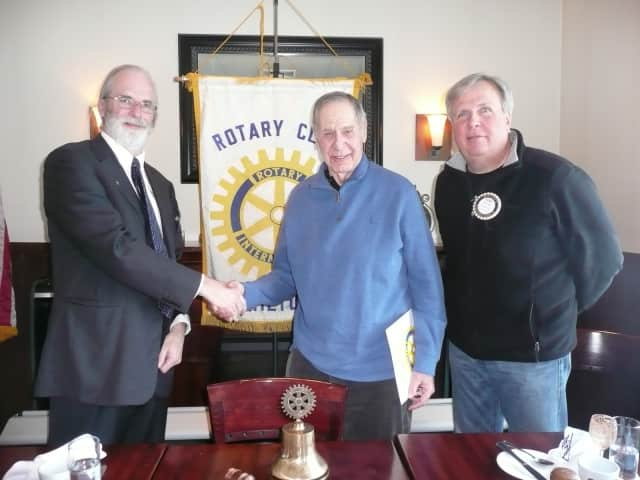 Wilton Rotary members at the business lunch at Marly's Restaurant. Pictured are President Paul Burnham, new member Peter Nigro and Rotarian Pat Russo.