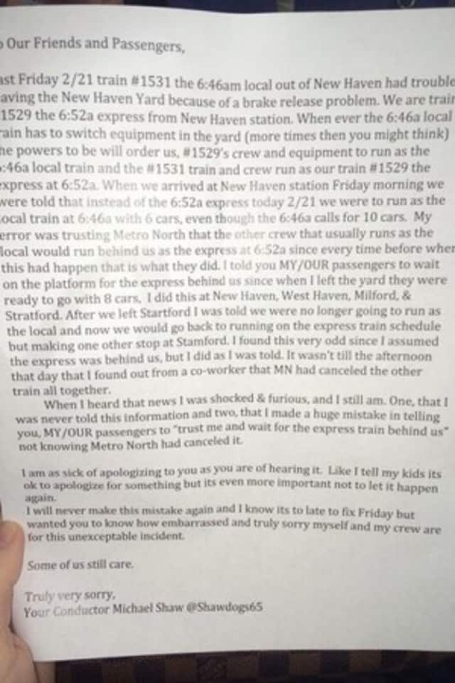 Metro-North conductor Michael Shaw left a typed apology letter on every seat of his train Monday morning.