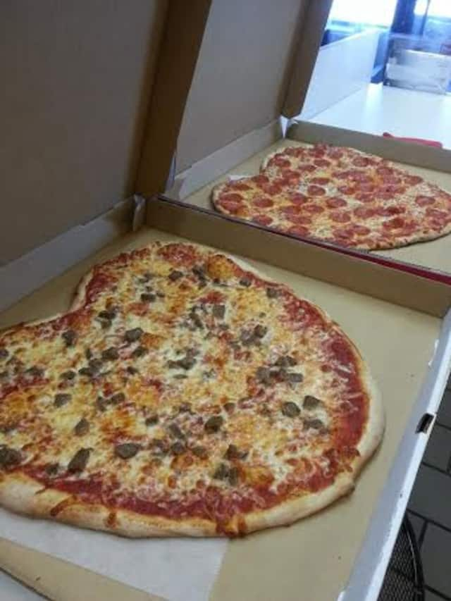 Joe's Pizza in New Canaan served heart-shaped pizzas on Valentine's Day.