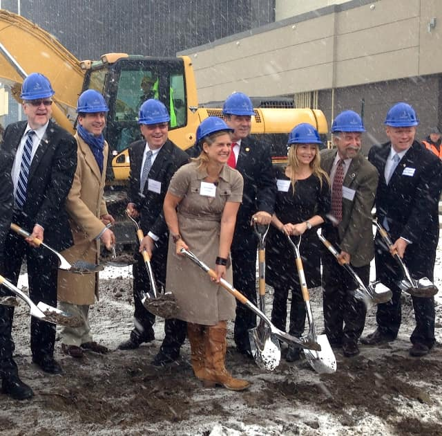 Mayor of Yonkers Mike Spano, along with Council President Liam McLaughlin and council members Michael Sabatino, Mike Breen and Dennis Shepherd, joined the owners of the shopping center, Hyatt executives and others to break ground for the new Hyatt.