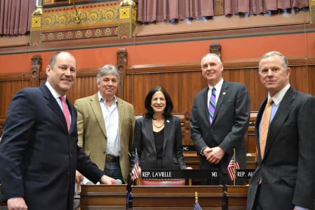 Wilton and Norwalk Y leaders met with State Representative Gail Lavielle and State Sen. Bob Duff at a recent breakfast meeting.