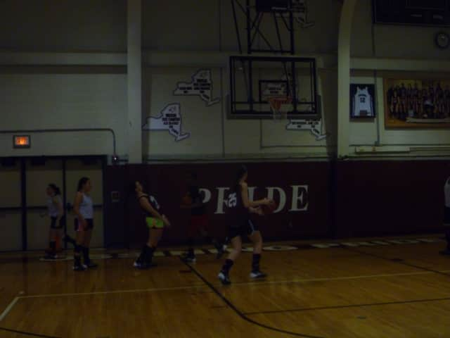 The Ossining girls basketball team practices for the state championships. None of the girls had seen Barack Obama's sitdown interview with Zach Galifinakis.