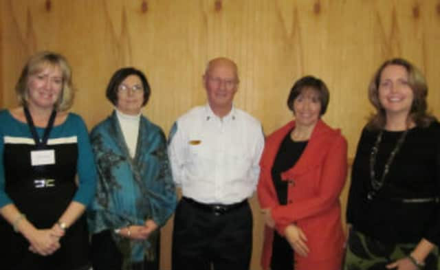 From left, are Lorraine Winsor (WWC Philanthropy Committee), Catherine Pierce (Wilton Social Services), Chris Gardner (Wilton Volunteer Ambulance Corps), Genia Meinhold (ABC Wilton Board of Directors) and Pat Hoeg (WWC).
